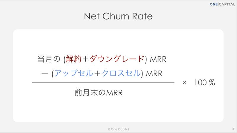 ネットチャーンレート(Net Churn Rate)の算出/計算:純 MRR ベースの解約率